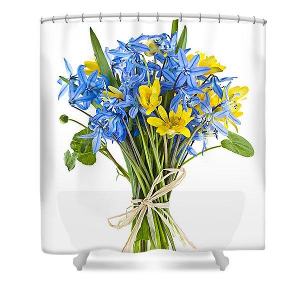 Bouquet Of Fresh Spring Flowers Shower Curtain by Elena Elisseeva