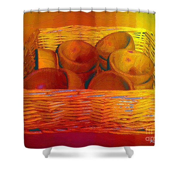 Bowls In Basket Moderne Shower Curtain by RC deWinter