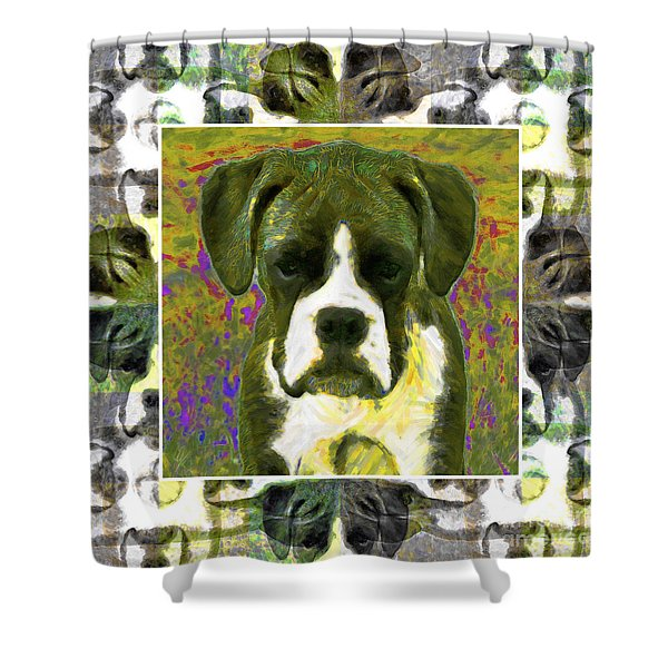 Boxer Dog 20130126 Shower Curtain by Wingsdomain Art and Photography