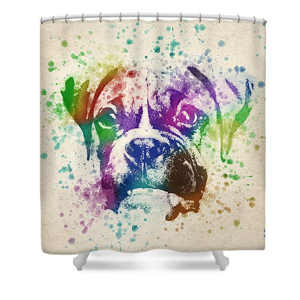 Boxer Splash Shower Curtain by Aged Pixel