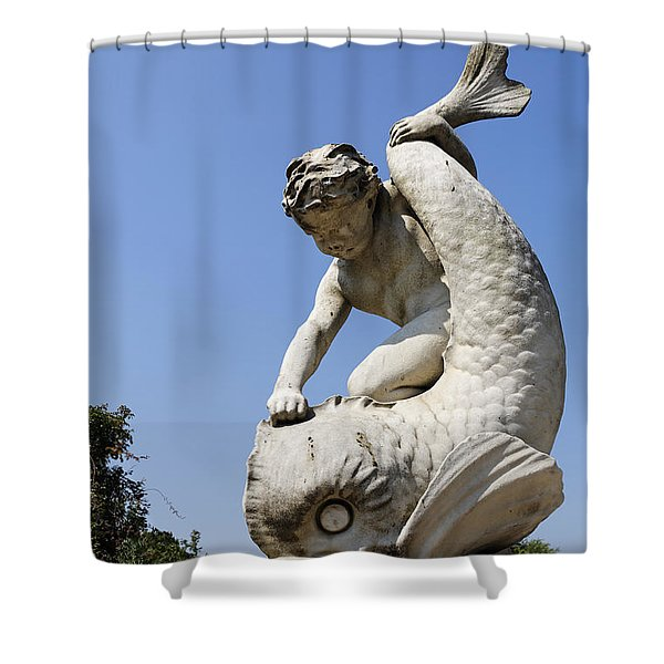 Boy and Dolphin sculpture by Alexander Munro in Hyde Park London England Shower Curtain by Robert Preston
