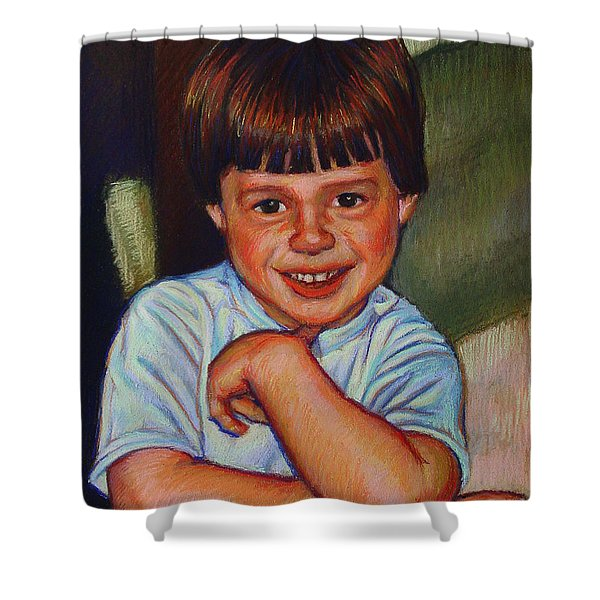 Boy in Blue Shirt Shower Curtain by Kenneth Cobb