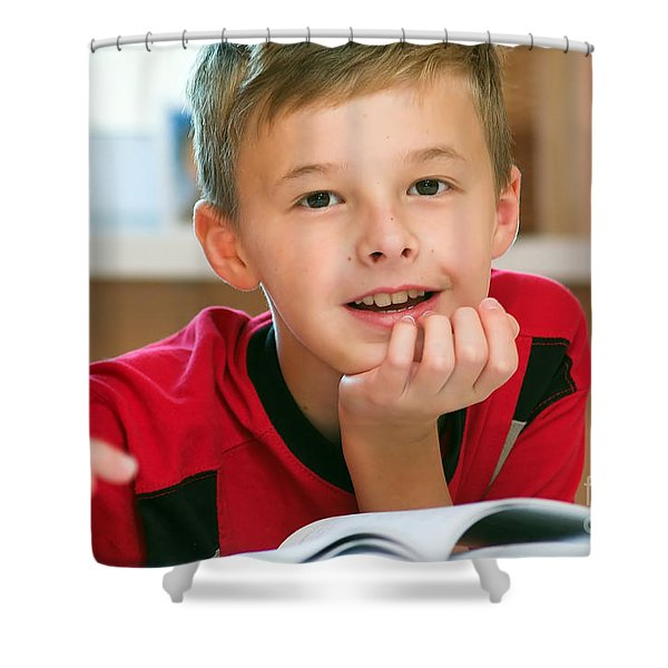 Boy Reading Book Portrait Shower Curtain by Michal Bednarek