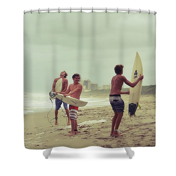 Boys Of Summer Shower Curtain by Laura  Fasulo