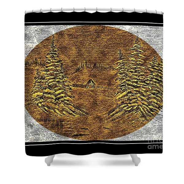 Brass-type Etching - Oval - Cabin Between The Trees Shower Curtain by Barbara Griffin