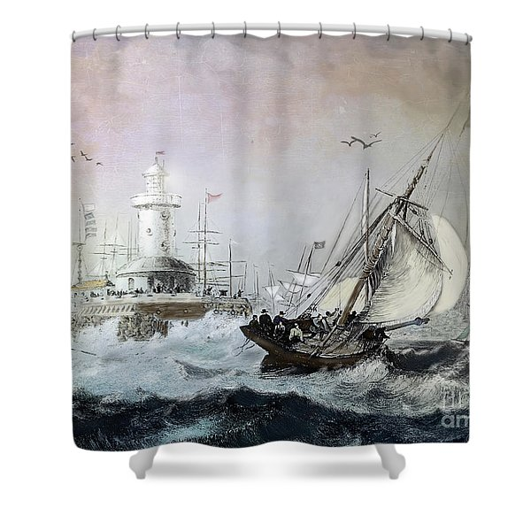 Braving the Storm Shower Curtain by Lianne Schneider