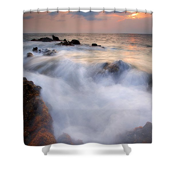 Break In The Storm Shower Curtain by Mike  Dawson