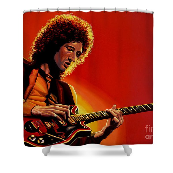 Brian May Shower Curtain by Paul Meijering