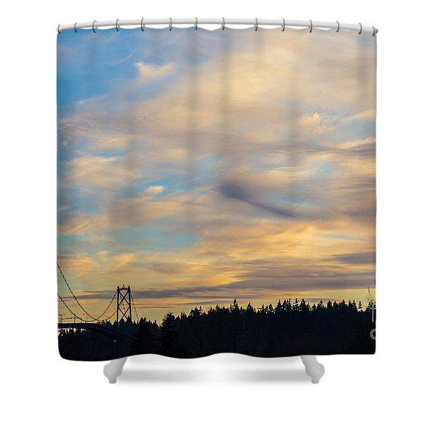 Bridge View Sunset Shower Curtain by Alanna DPhoto