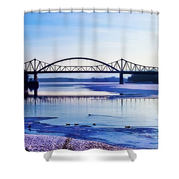 Bridges over the Mississippi Shower Curtain by Christi Kraft