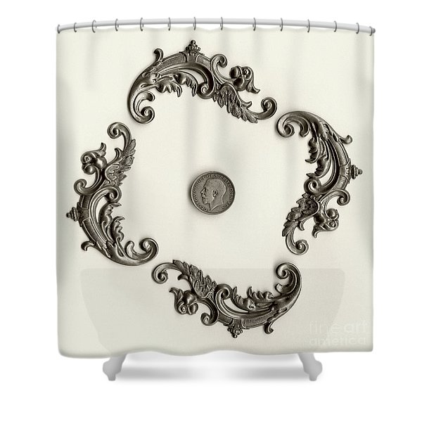 British Shilling Wall Art Version 1 Shower Curtain by Joseph Baril