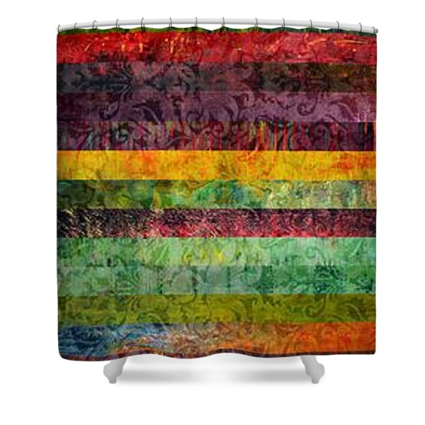 Brocade And Stripes Tower 2.0 Shower Curtain by Michelle Calkins