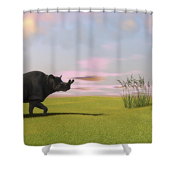 Brontotherium Grazing In Prehistoric Shower Curtain by Kostyantyn Ivanyshen