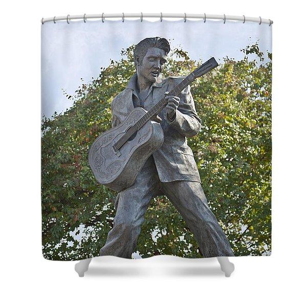 Bronze Elvis Shower Curtain by Liz Leyden