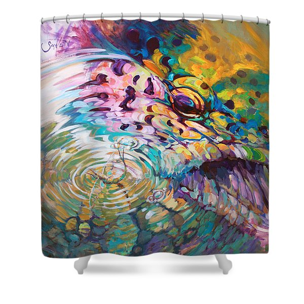 Brown Trout And Mayfly - Abstract Fly Fishing art  Shower Curtain by Mike Savlen