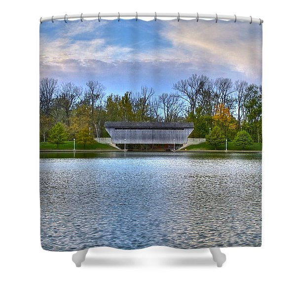 Brownsville Covered bridge Shower Curtain by Jack R Perry