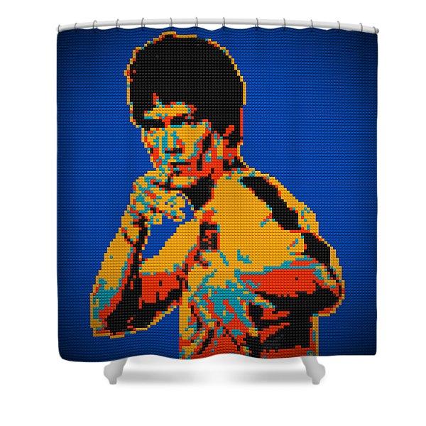 Bruce Lee Lego Pop Art Digital Painting Shower Curtain by Georgeta Blanaru