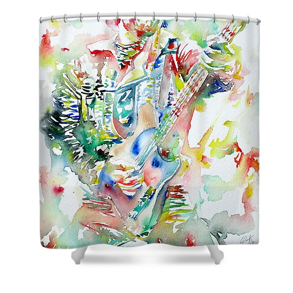 Bruce Springsteen Playing The Guitar Watercolor Portrait Shower Curtain by Fabrizio Cassetta