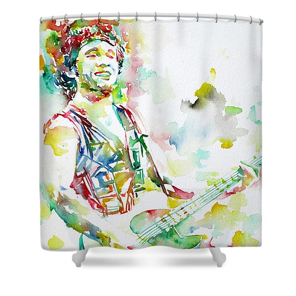 Bruce Springsteen Playing The Guitar Watercolor Portrait.2 Shower Curtain by Fabrizio Cassetta