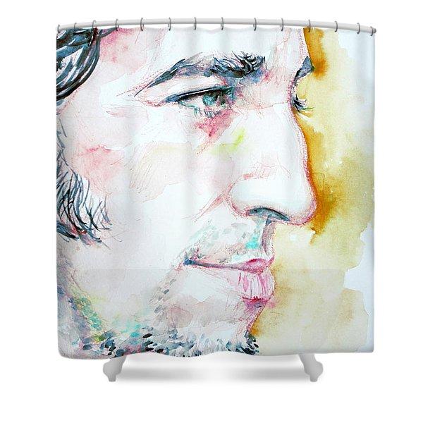 BRUCE SPRINGSTEEN PROFILE portrait Shower Curtain by Fabrizio Cassetta