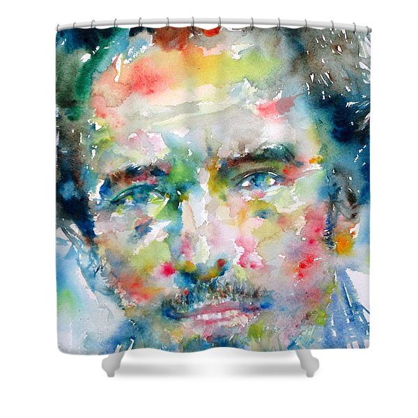 BRUCE SPRINGSTEEN WATERCOLOR PORTRAIT.1 Shower Curtain by Fabrizio Cassetta