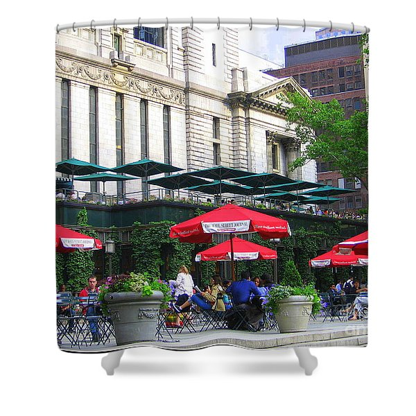 Bryant Park At Noon Shower Curtain by Photographic Art and Design by Dora Sofia Caputo