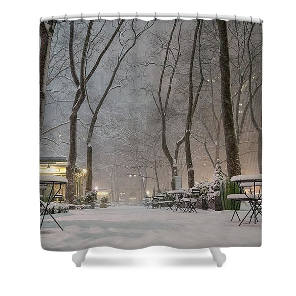 Bryant Park - Winter Snow Wonderland - Shower Curtain by Vivienne Gucwa