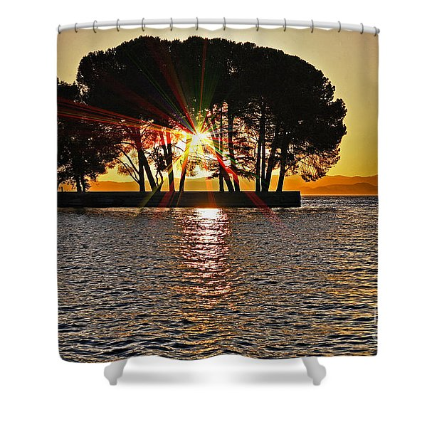 Buckingham Point Sunset 2 Shower Curtain by Cheryl Young