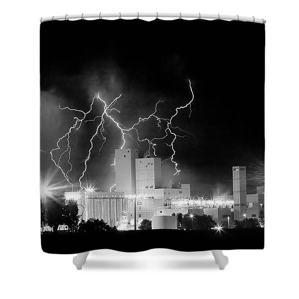 Budweiser Lightning Thunderstorm Moving Out BW Pano Shower Curtain by James BO  Insogna