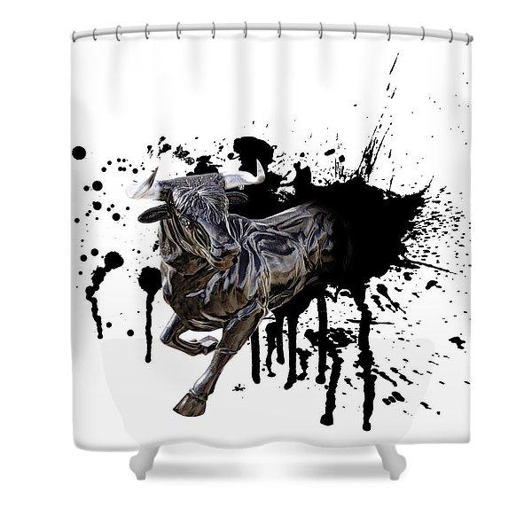 BULL BREAKOUT Shower Curtain by Daniel Hagerman