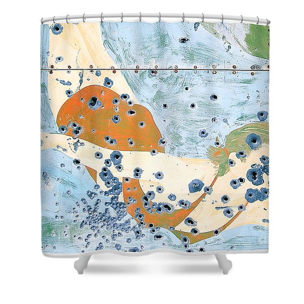 Bullet Ridden Tin Sign Chicos Hot Springs Shower Curtain by Edward Fielding