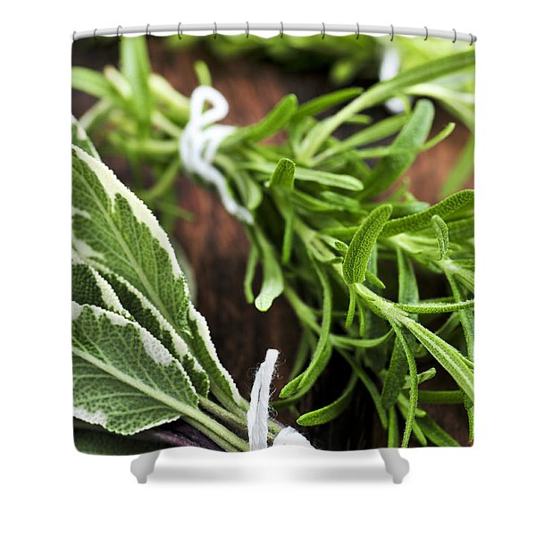 Bunches of fresh herbs Shower Curtain by Elena Elisseeva