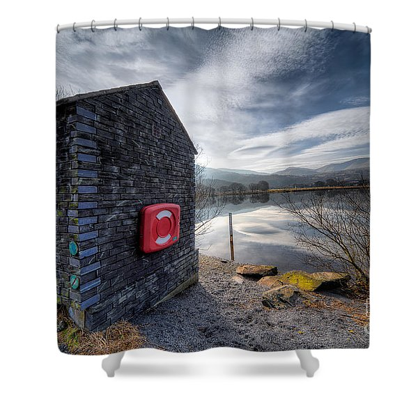 Buoy at Lake Shower Curtain by Adrian Evans