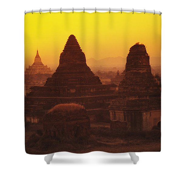 Burma Myanmar, Bagan, Temples At Sunset Shower Curtain by Richard Maschmeyer