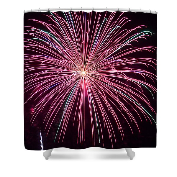 4th of July Fireworks 24 Shower Curtain by Howard Tenke