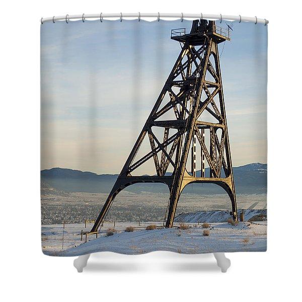 Butte Headframe Shower Curtain by Fran Riley