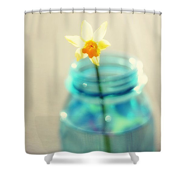 Buttercup Photography - Flower in a Mason Jar - Daffodil Photography - Aqua Blue Yellow Wall Art  Shower Curtain by Amy Tyler