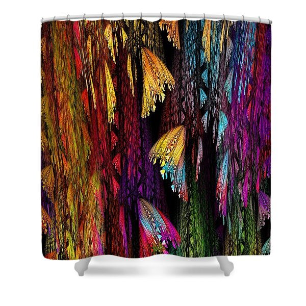 Butterflies on the Curtain Shower Curtain by Klara Acel