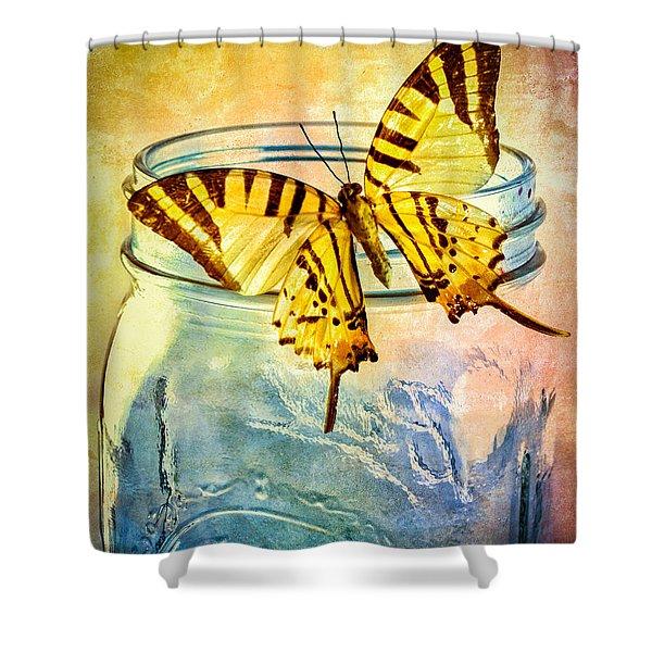 Butterfly Blue Glass Jar Shower Curtain by Bob Orsillo