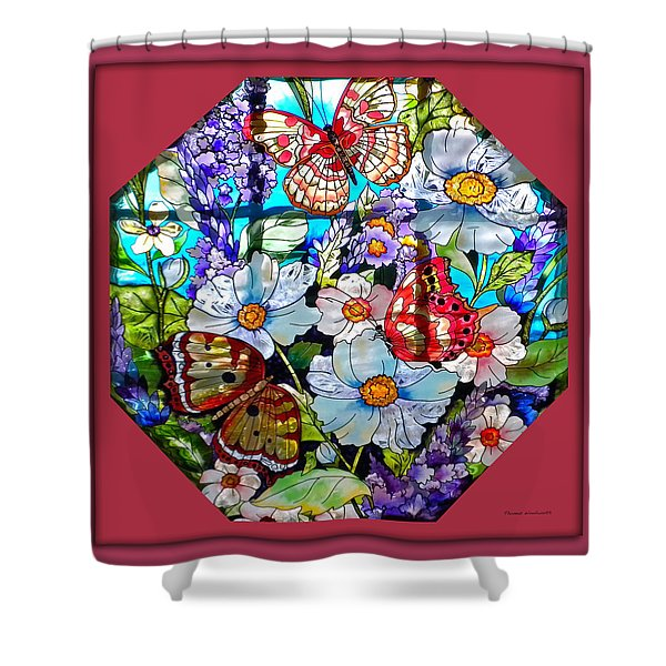 Butterfly Octagon Stained Glass Window Shower Curtain by Thomas Woolworth