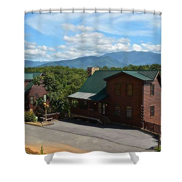 Cabins in the Smokies Shower Curtain by Frozen in Time Fine Art Photography