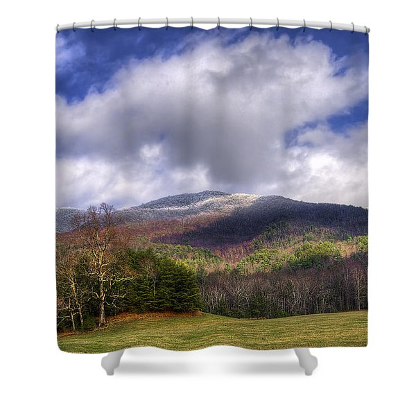 Cades Cove First Dusting Of Snow Shower Curtain by Debra and Dave Vanderlaan