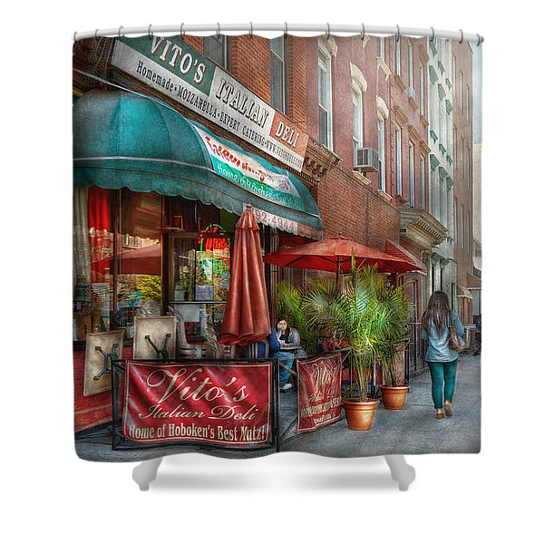 Cafe - Hoboken NJ - Vito's Italian Deli  Shower Curtain by Mike Savad