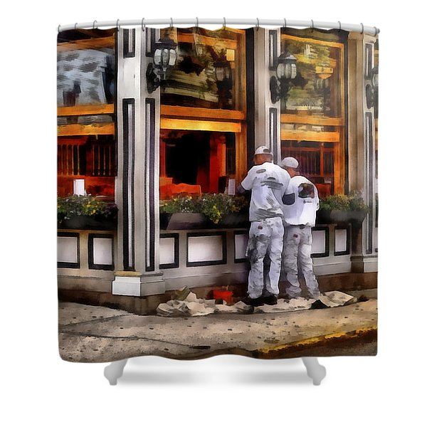 Cafe - The Painters Shower Curtain by Mike Savad