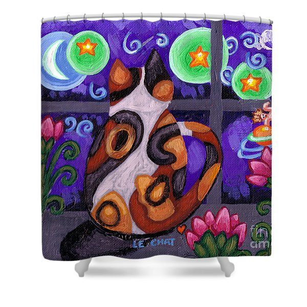 Calico Cat In Moonlight Shower Curtain by Genevieve Esson