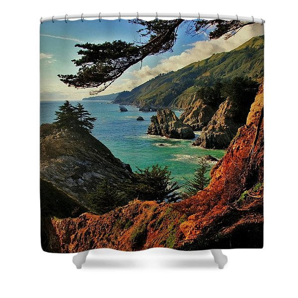 California Coastline Shower Curtain by Benjamin Yeager