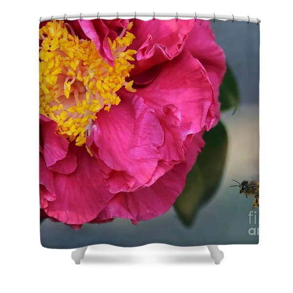 Camellia with Bee Shower Curtain by Carol Groenen
