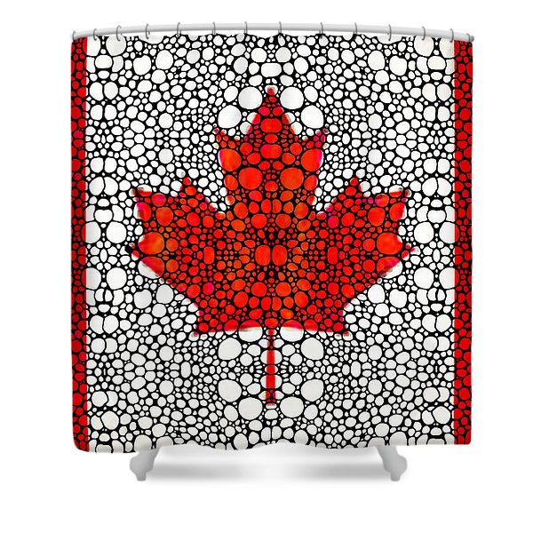 Canadian Flag - Canada Stone Rock'd Art By Sharon Cummings Shower Curtain by Sharon Cummings