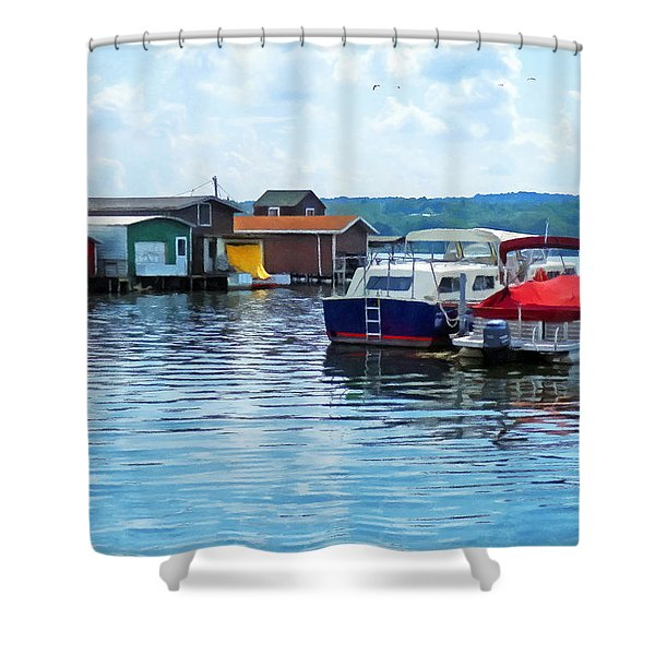 Canandaigua Fishing Shacks Shower Curtain by Susan Savad