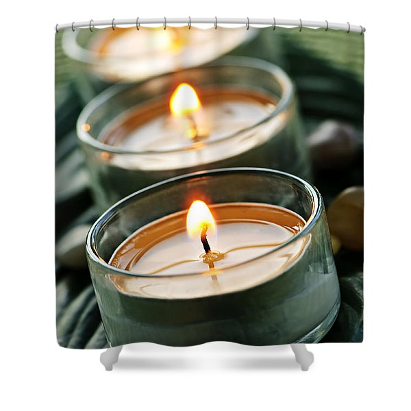 Candles On Green Shower Curtain by Elena Elisseeva